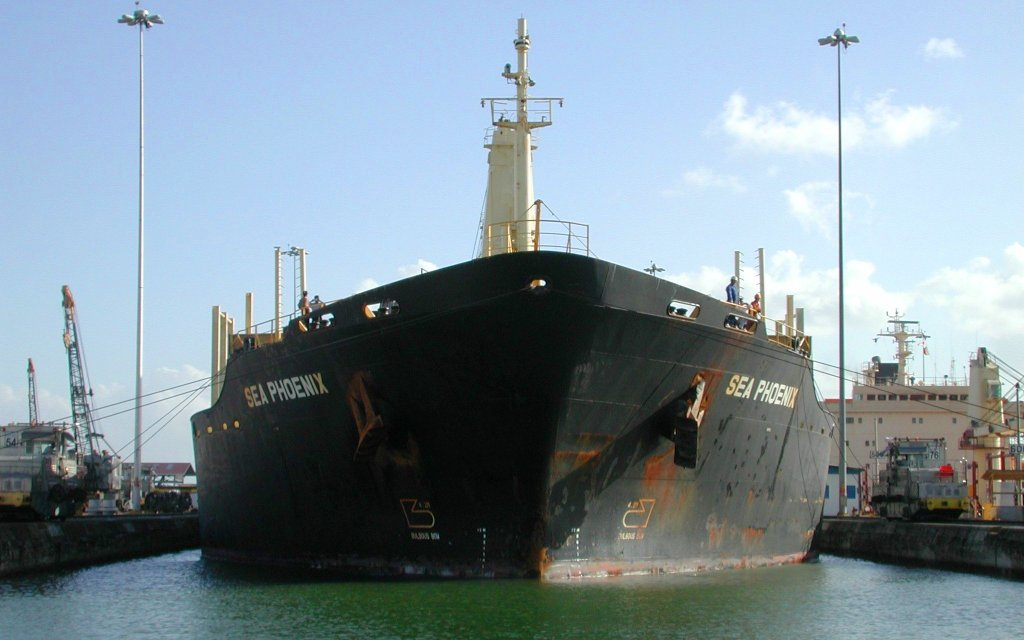 Panama Canal ship in chamber